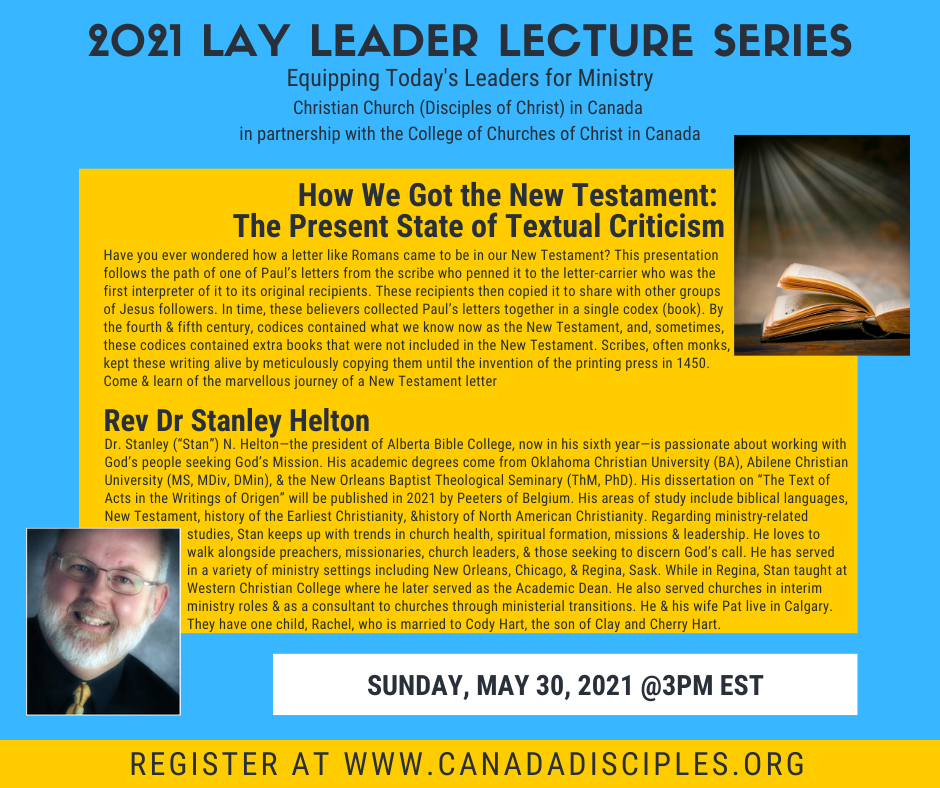 2021 Disciples of Christ Lay Leader Lecture Series