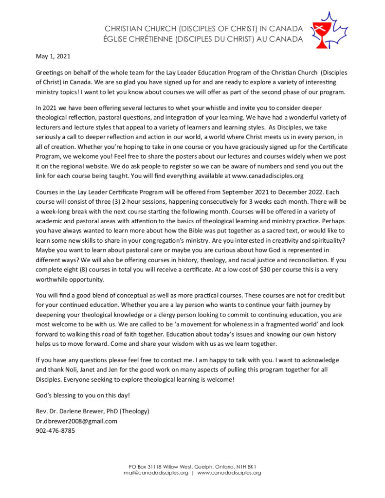 LLEP-Welcome Letter